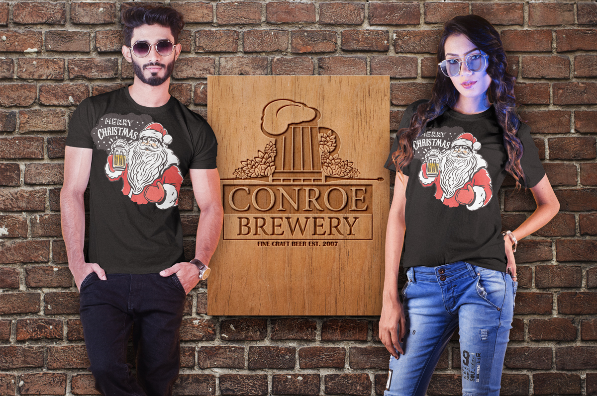 Request a FREE Christmas Santa T-Shirt from Conroe Brewery.